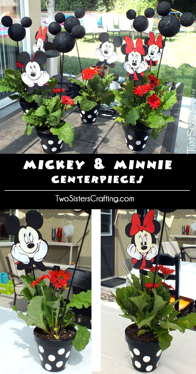 These adorable Mickey and Minnie Centerpieces are the perfect table decoration for a Mickey Mouse Birthday Party. We have all the instructions you will need to create they DIY Flower Pots with Mickey Mouse Ears. Follow us for more great Mickey Mouse Party Ideas.