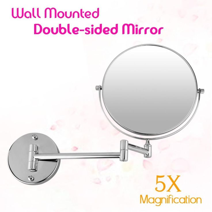 New Bathroom Mirror 8 Inch Wall Mounted Extending Folding Double Side 5x Magnification For Makeup