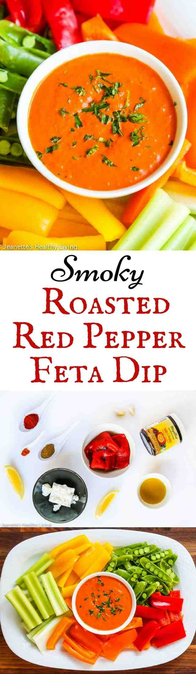 Smoky Roasted Red Pepper Feta Dip - this vibrant healthy dip is immune boosting ~ http://jeanetteshealthyliving.com