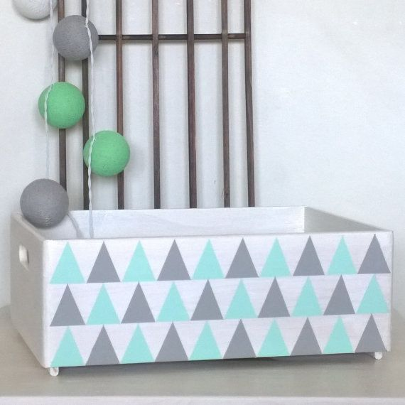 Hand Painted Wooden Crate, Crate With Lid, Storage Box, Toy Storage, Geometric Design, Kids Room Decor, Nursery Decor, Book Storage