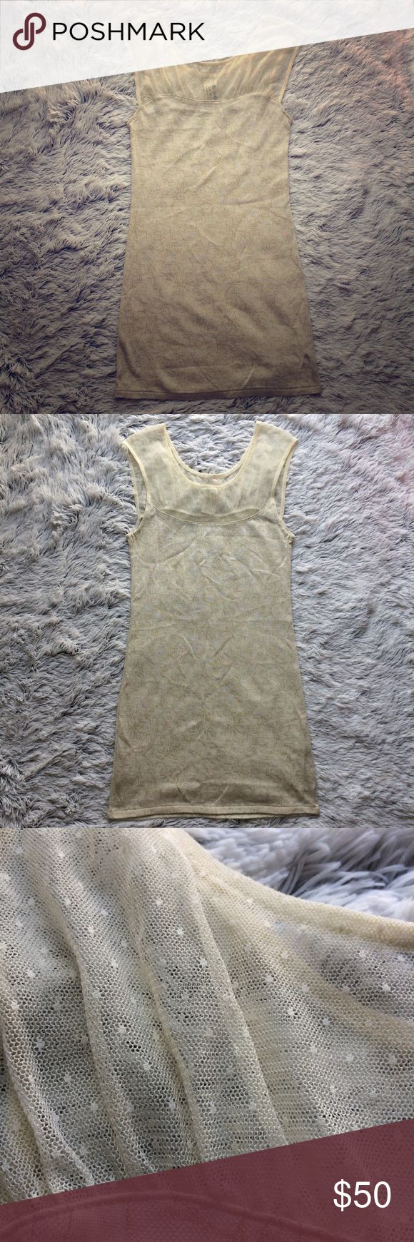 💛Free People Mesh Bodycon Dress💛 Free People mesh bodycon dress, cream with gold floral design all over and polka dot design on mesh. Slight sweetheart-type neckline. 89% acrylic, so it's super warm! Pair with leggings and booties for a perfectly polished look this fall 🍁 Add a utility jacket for a little edge to this delicate, girly piece 😉 EUC. 33.5 inch length and 28 inch waist. Stretchy material. All offers welcome! Free People Dresses Mini