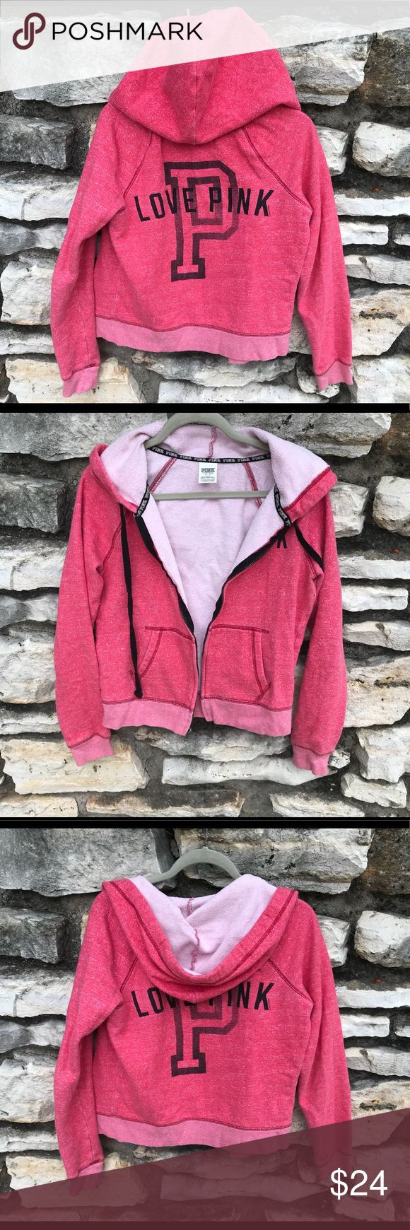 Victoria's Secret PINK hoddie zip up size small PINK hoodie size small petite. Pink/Peach color, black print on the back. Please note that color might be slightly different from the picture. Warm hoodie. Has some minor ware. No tear or stains. I can't model bc I am currently size L. PINK Victoria's Secret Other