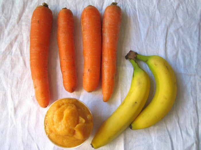 lilla matdériven: Mangobananpuré med morötter