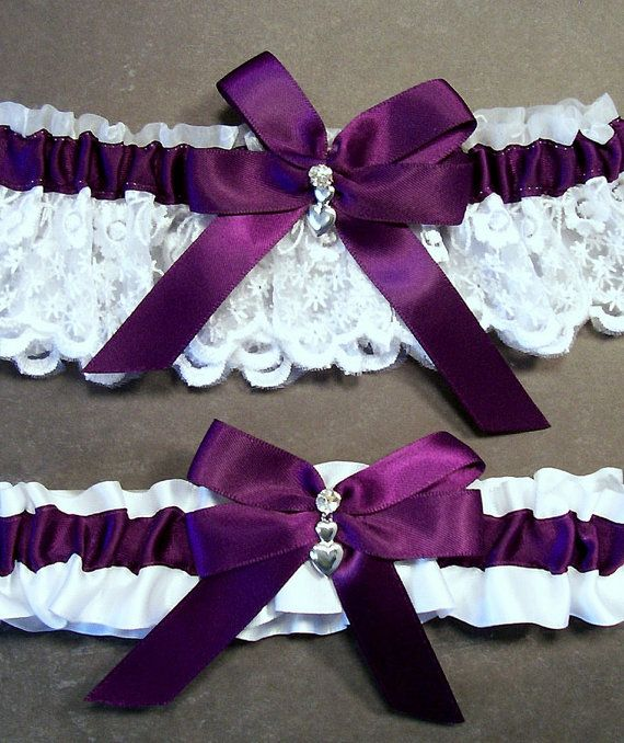 Wedding Garter, Bridal Garter Set Plum Purple on White Keepsake Garter, Plum  on White Toss Garter, Bow with Rhinestone and Hearts Charm