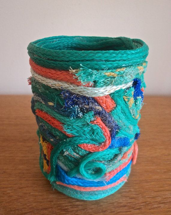 Pen/ Pencil Pot Holder Fishing Net Rope by turquoisestormcrafts