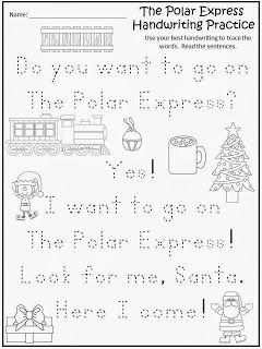 FREE: The Polar Express Handwriting Practice. Freebie For Teachers From A Teacher. fairytalesandfictionby2.blogspot.com