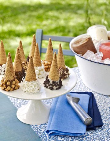 Simplify the Sundae  Dressing up a dozen cones before the party starts streamlines the dessert-bar process. To make these treats — think of them as environmentally friendly bowls and toppings all in one — just dip each cone in melted white or milk chocolate and roll in tiny marshmallows, coconut flakes, chopped nuts, crushed cookies, or candy chips. Set out a selection of ice cream flavors chilled in a tub of ice, and dessert is done — without your taking a single order.