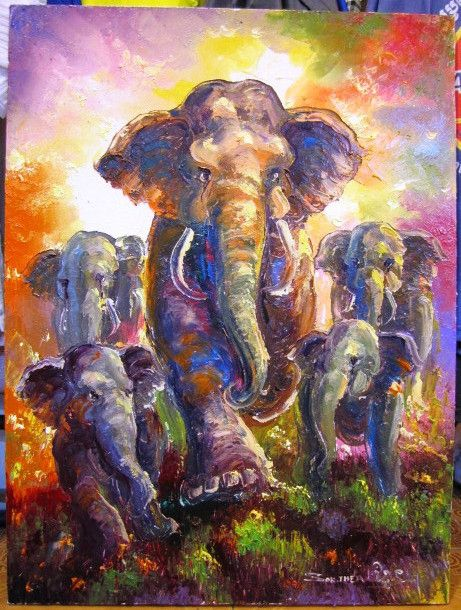 Cambodia Elephant Elephant Oil Painting 60cm X 80cm