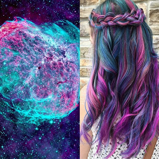 Rainbow hair color and wreath braid by Hailey Mahone. Includes hair color inspiration picture. facebook.com/hotbeautymagazine