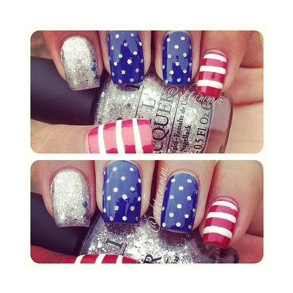 Cheer On Your Favorite Olympic Team With Nail Art ❤ liked on Polyvore featuring nails