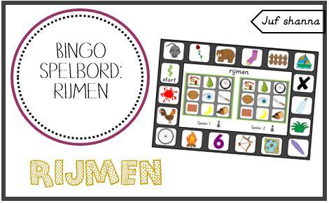 Juf Shanna: Bingo spelbord: rijmen en andere rrijmspelletjes