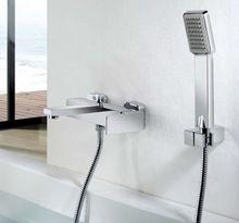 Platz Bad & Dusche Wasserhahn Dusche Mixer Kupfer Material Chrom-finish Mit Dusche Und Brausehalter Flexible Schlauch KF234(China (Mainland))