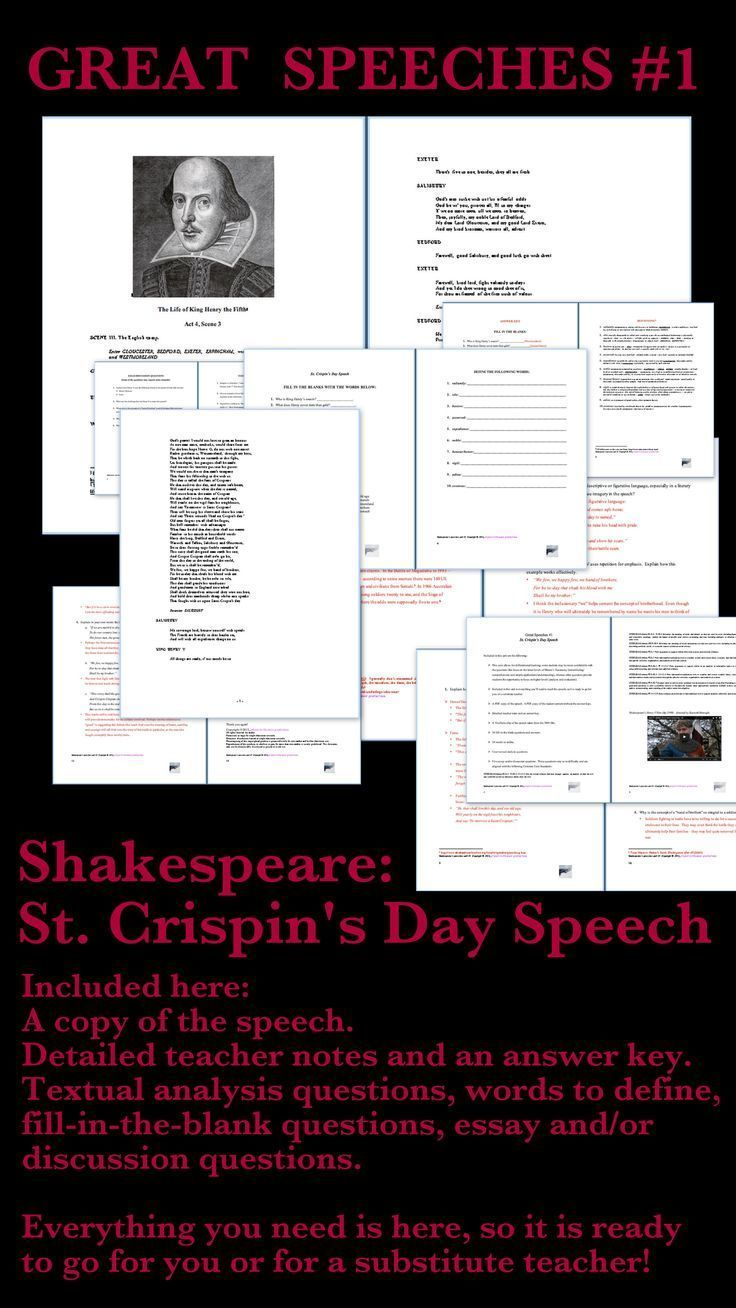 Shakespeare St Crispins Day Speech  Google Classroom  Henry V Saint Crispins Day Speech Activities  Online Writing Service Review also Essay Topics For Research Paper  Essay On My Family In English