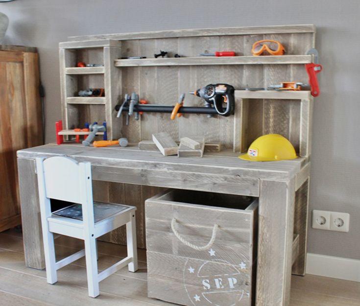 Doe-Het-Zelf bouwpakket kinderwerkbank steigerhout