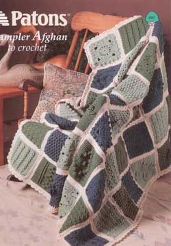 Sampler afghan shows off fun and interesting crochet stitches. Shown in Patons…