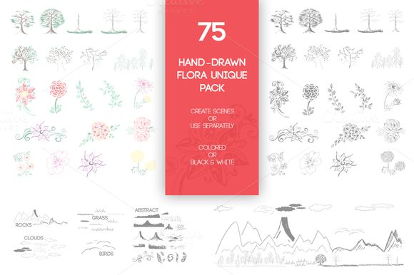 75 Hand-Drawn Flora Unique Pack by Knofe on @creativemarket