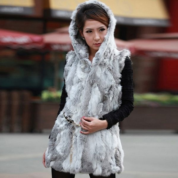 Reversible Fur Coat With Hood
