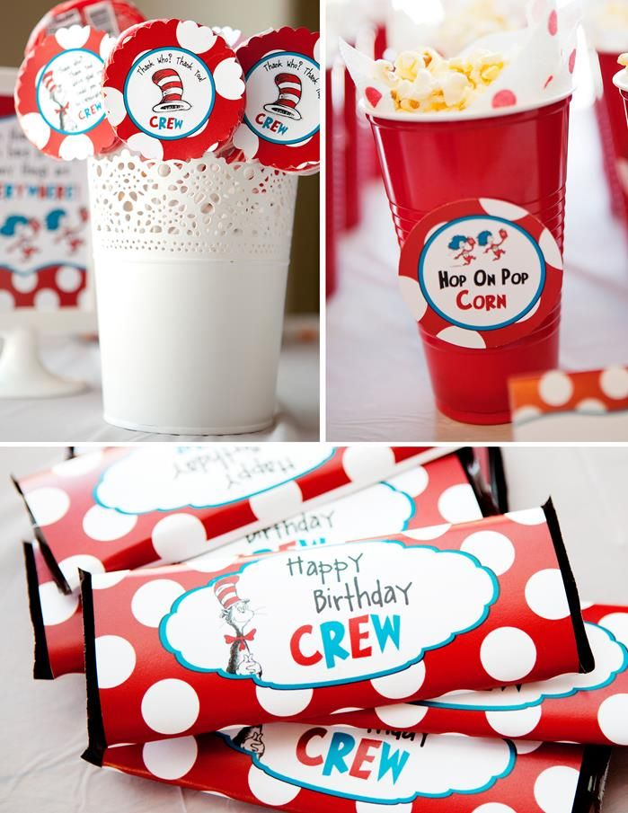 Darling CAT IN THE HAT birthday party with tons of cute ideas! Via Kara's Party IDeas - KarasPartyIdeas.com - THE place for all things party & entertaining! #drseuss #drseusspartyideas #drseusspartysupplies #birthdaypartyideas