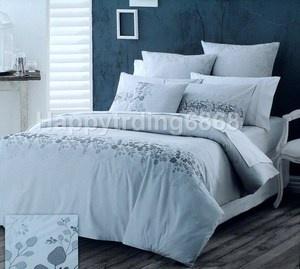 Grey premium Cotton Embroidered 6pc KING QUILT DOONA COVER SET + Euros & Cushion AU $89.91