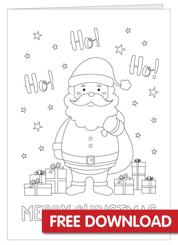 Free Christmas Card Printable Christmas Card Colouring In Card Colourin Christmas Coloring Cards Coloring Holiday Cards Free Printable Christmas Cards