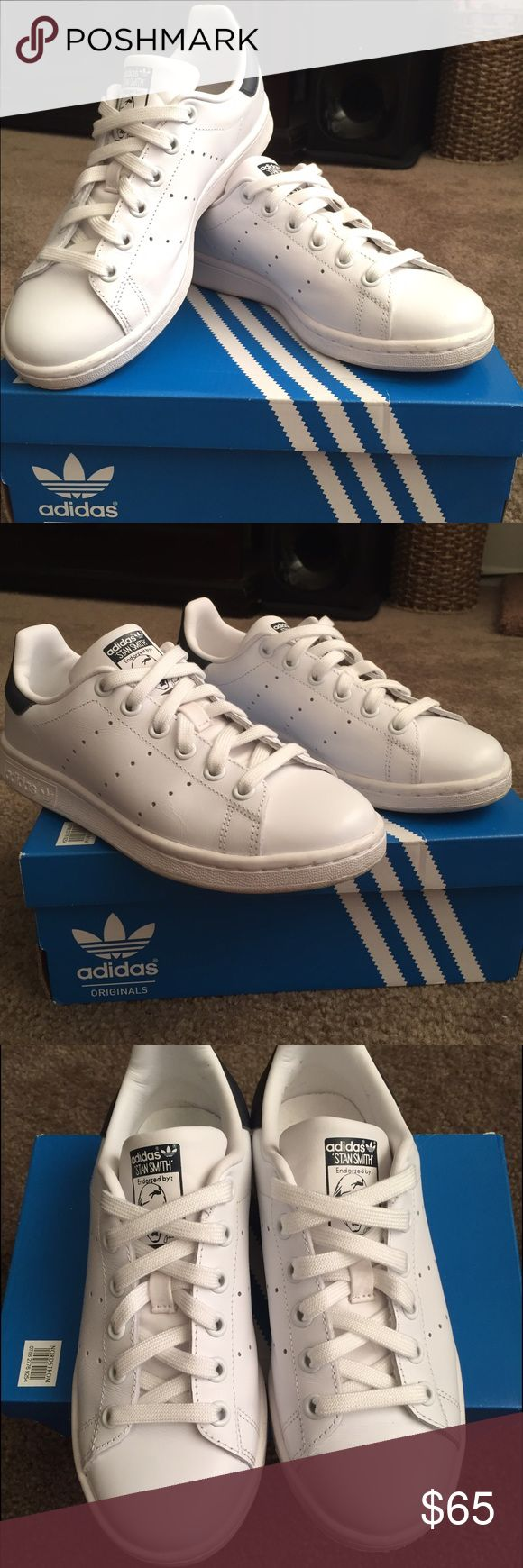 Stan Smith Adidas Size 4 in men and 6 in woman. Unisex style. Super cute, I just can't wear them since they are loose on me. Wore them a couple times, still in new condition. Adidas Shoes Sneakers