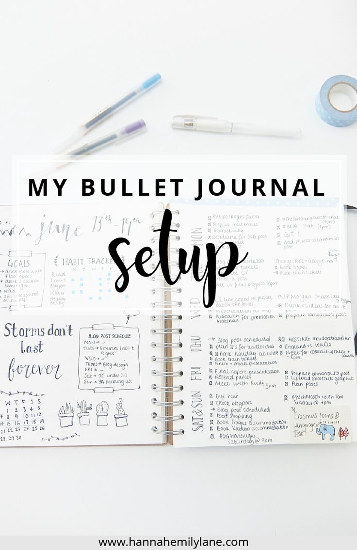 A walkthrough of my bullet journal setup and pages for inspiration and ideas | www.hannahemilylane.com