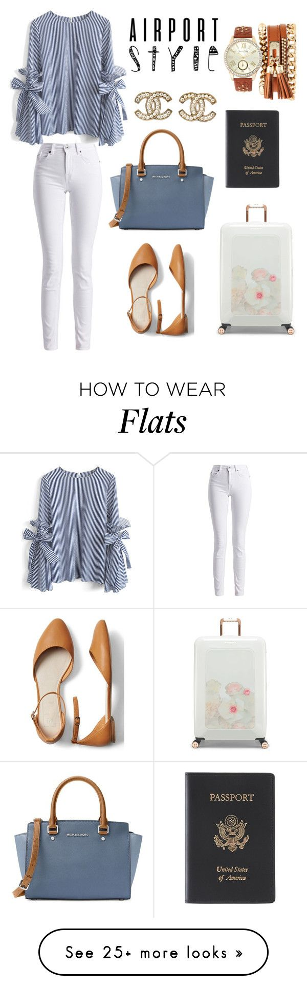 """""""Airport with style"""" by ellieacd on Polyvore featuring Jessica Carlyle, MICHAEL Michael Kors, Gap, Barbour International, Ted Baker, Royce Leather, Chicwish, Chanel and airportstyle"""
