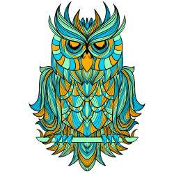 lustrasi gambar burung hantu yang memadukan gaya etnik #cute #art #animal #owl…