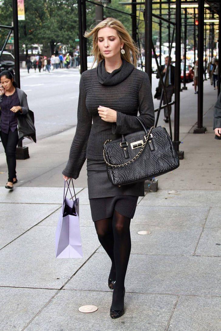 Ivanka Trump In Black Sheer Pantyhose Grey Wool Sweater