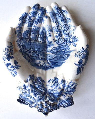 Blue English Transferware Clarice Cliff Open Hands Soap Dish Tray Staffordshire - Hand Shaped Trinket Dish