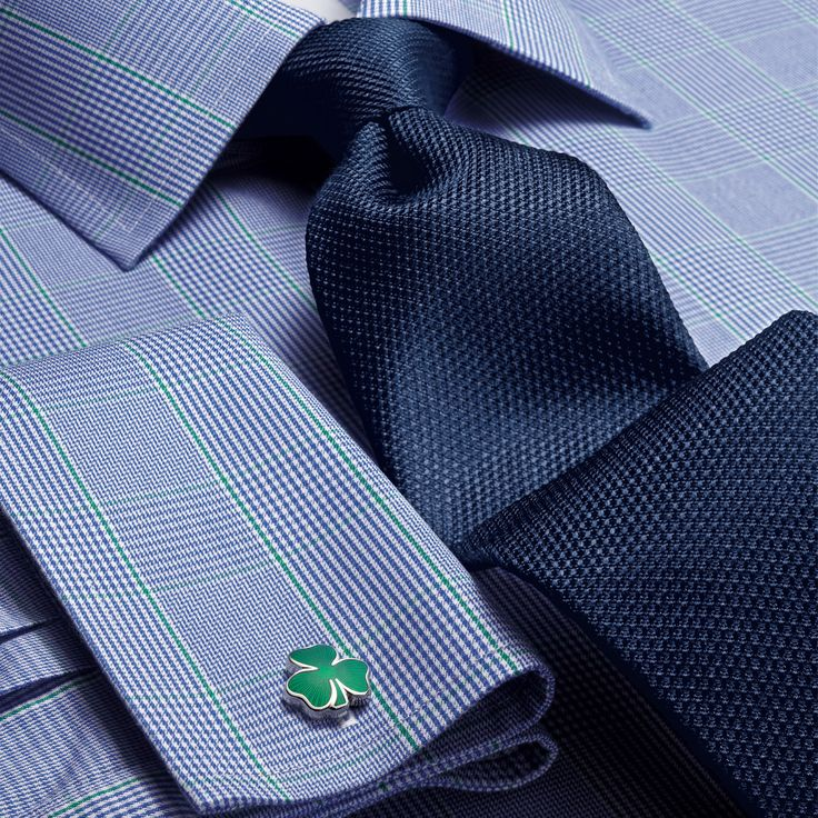 Blue and green Prince of Wales check non-iron Slim fit shirt | Men's dress shirts from Charles Tyrwhitt | CTShirts.com