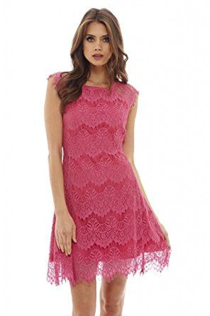 Pink Capped Sleeve Crocheted Lace Midi Dress