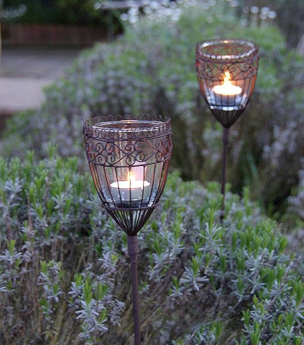 Wire and glass garden lights