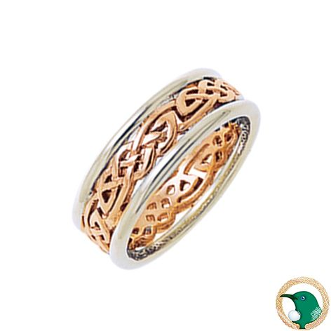 Our Ladies Serenity Celtic ring shown here in 18ct white and rose gold