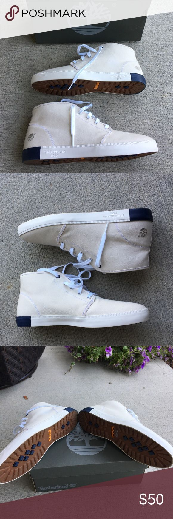 Men's Timberland chukka boots A very great shoe made out of Newport Bay canvas material. Brand new without tags. Ended up buying it and never wearing it. Comes with original box and complimentary tissue paper shoe stuffers inside. Timberland Shoes Chukka Boots