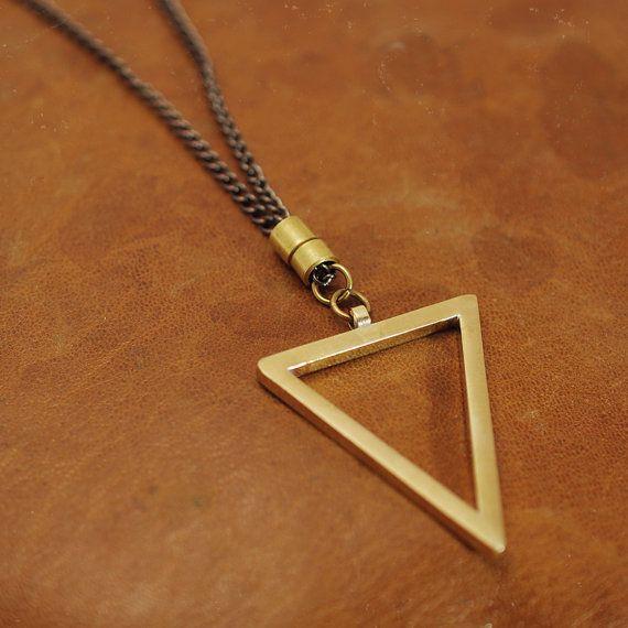 Triangle necklace Geometric pendant Unisex by AngelaGomezJewelry
