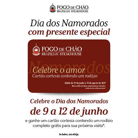 Celebre o Dia dos Namorados de 9 a 12 de junho e ganhe um cartão cortesia contendo um rodízio completo grátis para sua próxima visita*. Válido mediante reserva! * Confira as condições em www.fogodechao.com.br/promocoes #fogodechão #namorados #presente