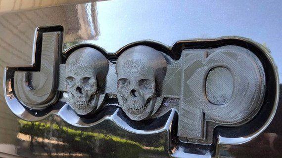 Jeep Emblem Logo Custom Black Human Skull 3d Printed Pla Grand