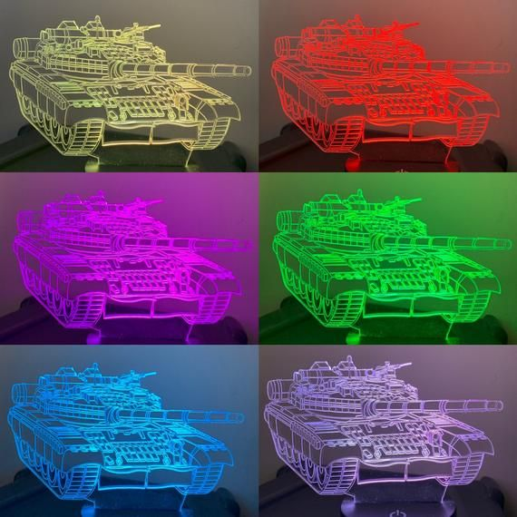 Tank 3d Illusion 7 Colors Changing Led Lamp With Remote Controller Handmade Can Be Personalised With Name Or Text 3d Led Lamp Color Change Color Changing Led