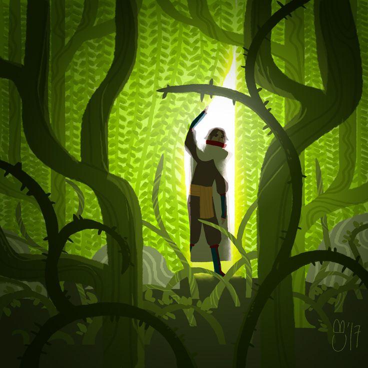 Day 8: Veil #huedventcalendar #advent #hues #challenge #artbook #illustration #forest #vines #border #exploration #jugle #urwald Art by Cheryll Boehm | http://cheryll.de/