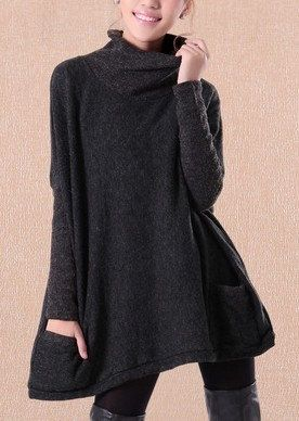 Black  Linen   Cotton sweater Wool sweater women sweater loose sweater long sleeve sweater cape coat sweater winter autumn spring C128