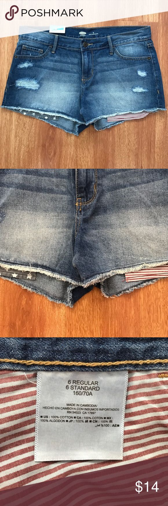 NWT Old Navy USA Jean Shorts Old Navy cut off Jean shorts with American flag peeking out bottom. New with tags. Old Navy Shorts Jean Shorts
