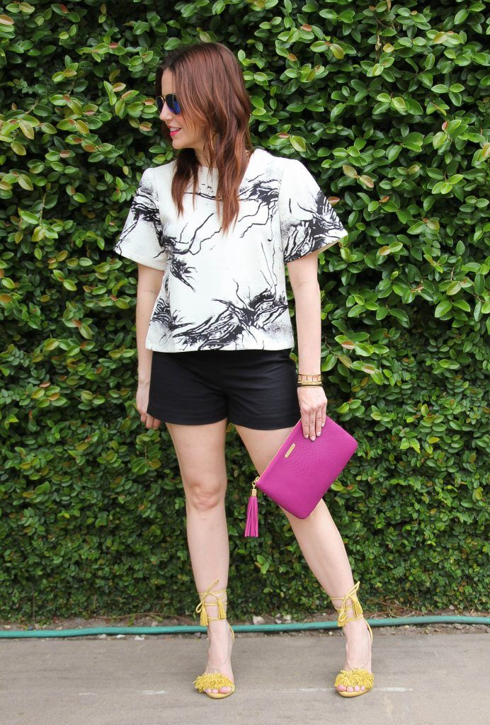 Outdoor Party Outfit - black shorts by @karenzta