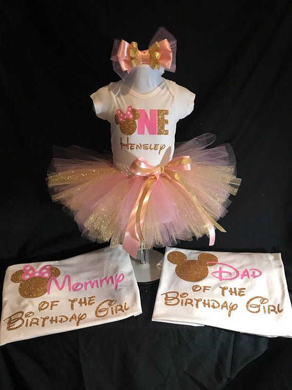 Minnie Mouse First Birthday Tutu Set Please in a note to seller upon purchase but the name you would like put on the top. Up to 24 months the top will be a onesie. 2T and larger will be done on a shirt. Please see my other listings for the matching mom and dad shirts. Mommys