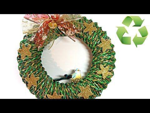 Como hacer una corona de Navidad de papel. Christmas ornament. - YouTube