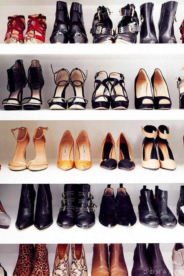 Jaime King's closet shoe wall