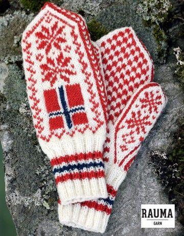 Flaggvotter materialpakke, Rauma garn