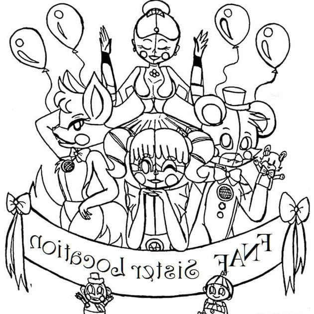 This is an image of Refreshing Fnaf Sister Location Coloring Pages