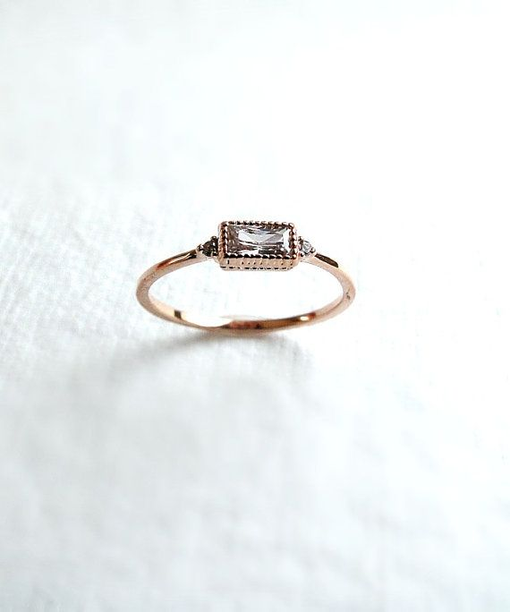 Rose gold filled stacking ring small diamond by laplumeblanche