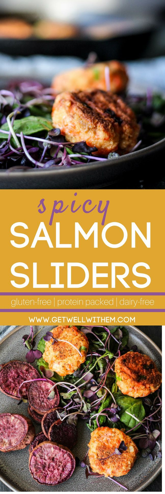 These spicy salmon sliders with ginger, chili pepper, and green onion are protein-packed, full of heart-healthy omega-3's, dairy-free, and depending on your bread crumbs, gluten free!